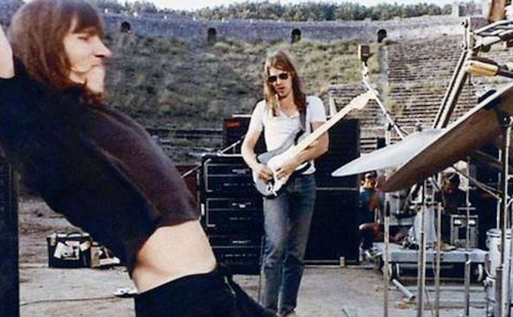 Roger Waters and David Gilmour in 1972 at Pompeii.