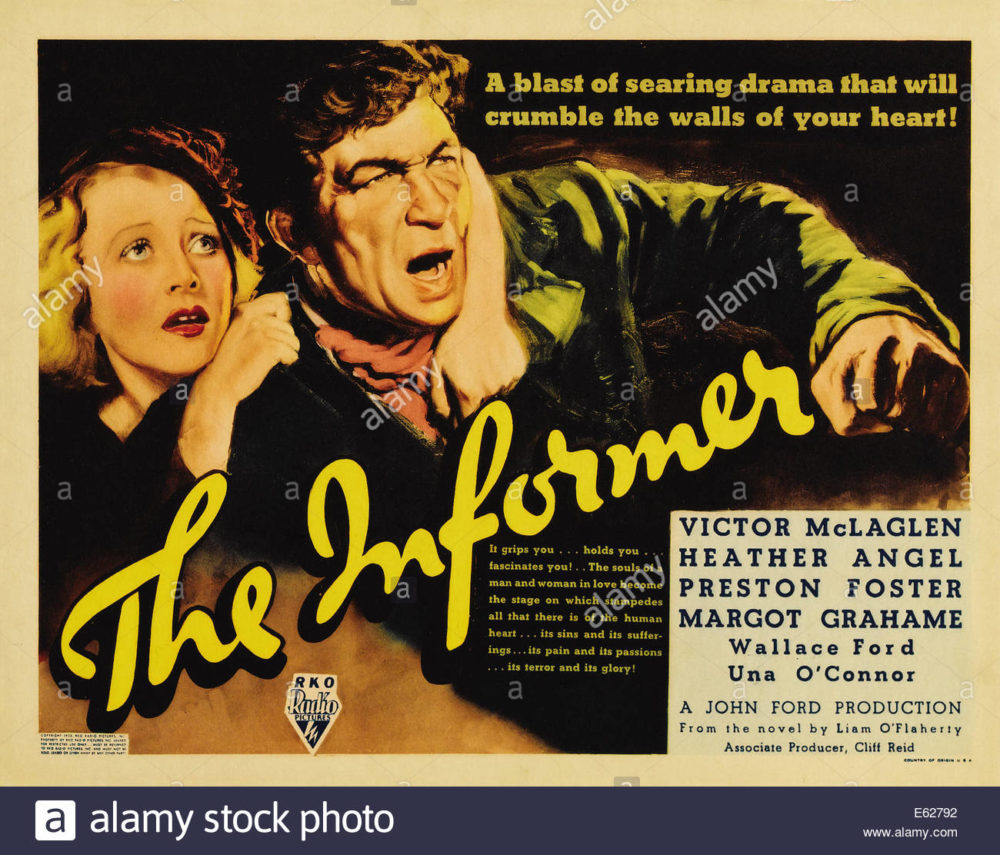 THE INFORMER - With Victor McLaglen Margot Grahame - Movie Poster - Directed by John Ford - RKO 1935